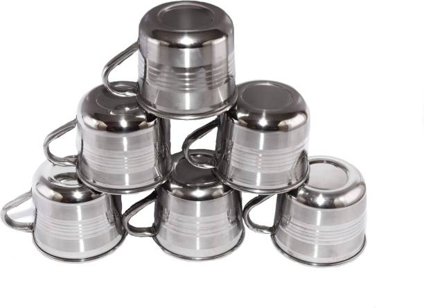 Yes kitchen Pack of 6 Steel Royal Steel Tea Cup/Coffee Cup, Set of 6 Piece, Sliver,120ml