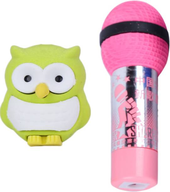 AutoVHPR Set of 2 Cute Green Owl & Pink Mike shaped Eraser for School Children Non-Toxic Eraser