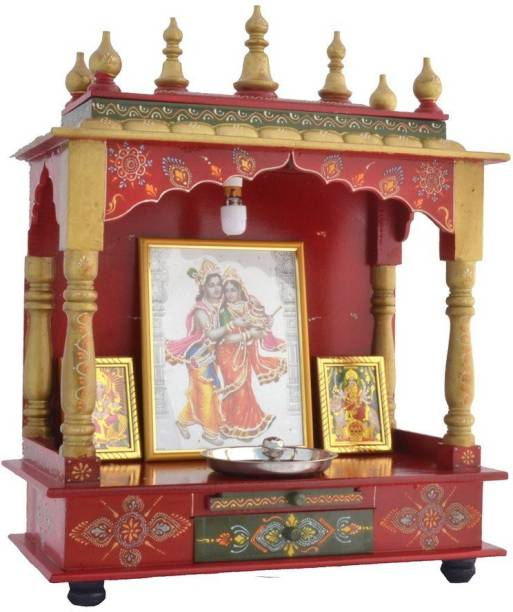 Marusthalee Wooden Temple with LED Light Solid Wood Home Temple