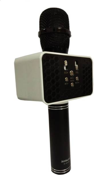 SOniLEX SL- BS 188 Wireless Bluetooth Microphone Recording Condenser Handheld Microphone Stand With Bluetooth HI FI Speaker Audio Recording For Cellphone Karaoke Mike (Black) Microphone
