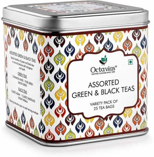 Octavius 6 Assorted Black & Green Teas - Flavours of Darjeeling, Classic Assam, Indian Masala, Pure Green Cinnamon, Lemon Tea Bags Tin