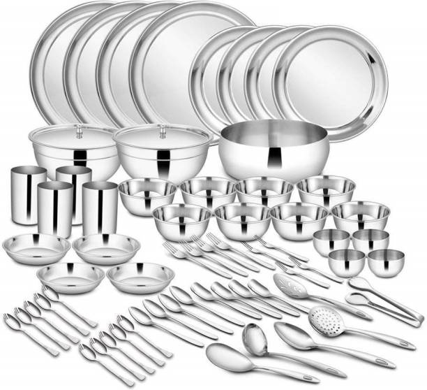 Shri & Sam Pack of 65 Stainless Steel High Grade Stainless Steel Dinner Set - 65 Pieces Dinner Set