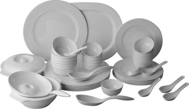 STEHLEN Pack of 46 Melamin Elevated Series, 100% Pure Melamine, Dishwasher Safe Dinner Set