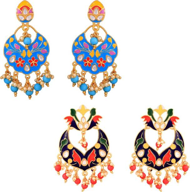 Yellow Chimes Meenakari Special Combo 2 Pairs Stylish Traditional Chandbali Earrings Pearl Copper Chandbali Earring