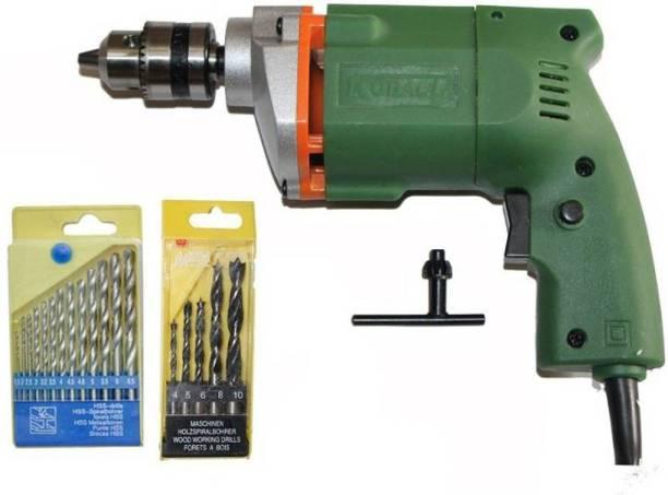 indmart Powerful 10Mm Drill Machine +13Pcs Hss Drill Set For Wood,Metal,Plastic & 5Pcs Masonary Drill Set For Wall,Concretes Pistol Grip Drill
