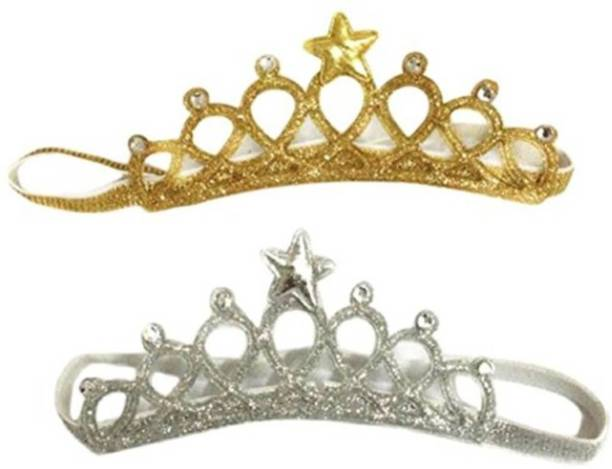 Babymoon (Set of 2) Baby Girl Rhinestone Crown Headbands Toddler Princess Headband Hair Accessories Glittering, Baby Photography Props Hair Accessory Set