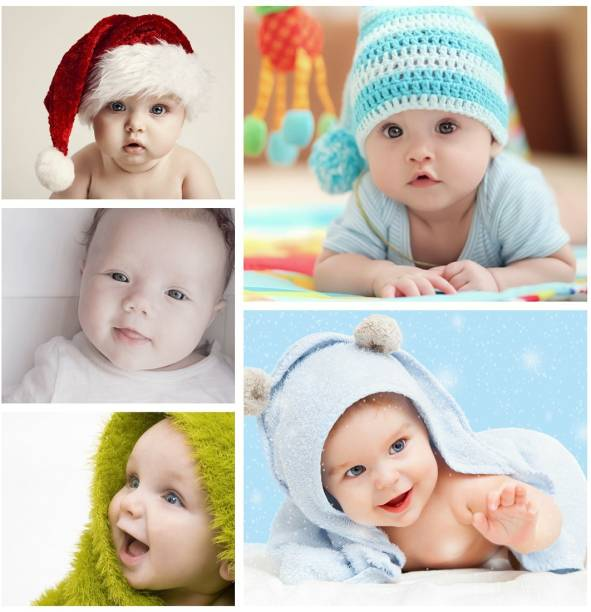 Set of 5 Cute Baby Combo Posters | Smiling Baby Poster | Poster for Pregnant Women | HD Baby Wall Poster for Room decor (12x18-Inch, 300GSM Thick Paper, Gloss Laminated) Paper Print