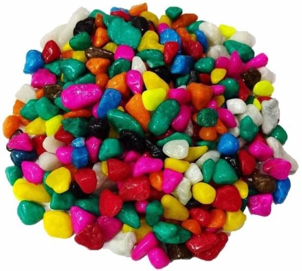 OPZET INDIA Garden/Plant/Home Decor (Mix Colour) Polished Asymmetrical Marble Pebbles