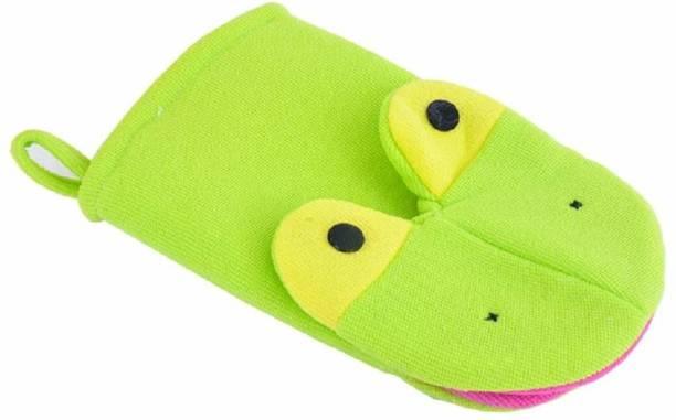 SYGA Animal face Cartoon Bathing Gloves Children Cartoon Bath Towel Baby Bath Gloves (Green)