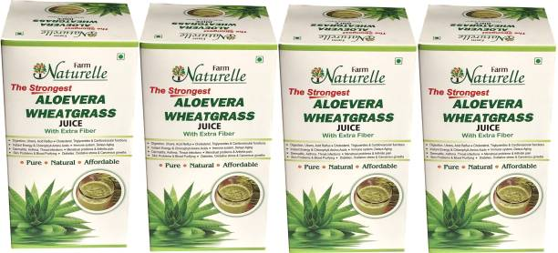 Farm Naturelle Strongest Aloevera-Wheatgrass Juice Combo (4x400ML) for Vital Elements and quick weight loss/fat loss-Herbal Weight Reduction Juice/ Quick Face Glow increase, Lose Fat