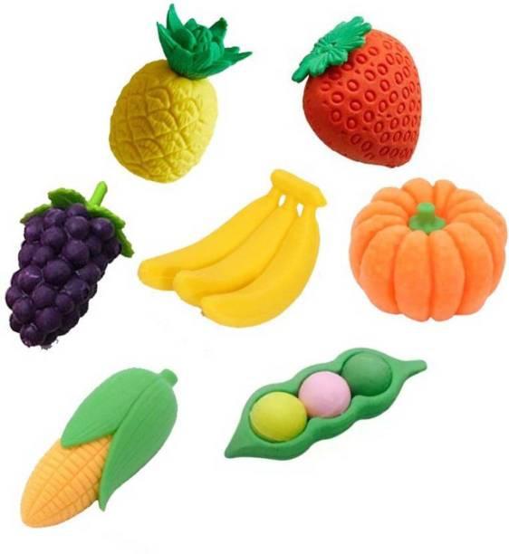 ShopTop Rainbow 7 Pcs Colorful Fruit Eraser Set Non-Toxic Eraser Non-Toxic Eraser