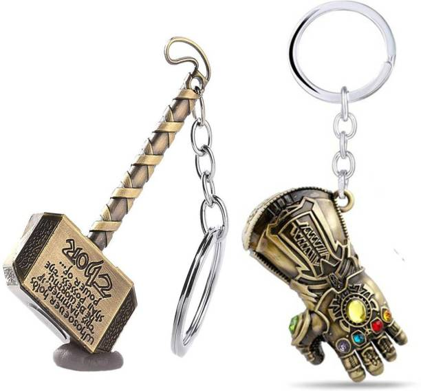 eweft Avenger Thor Hammer Gold And Thanos Hand Metal (2pcs Pack) Key Chain