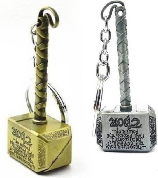 eweft Thor Hammer Silver And Gold Metal (2 Pcs Pack) Key Chain