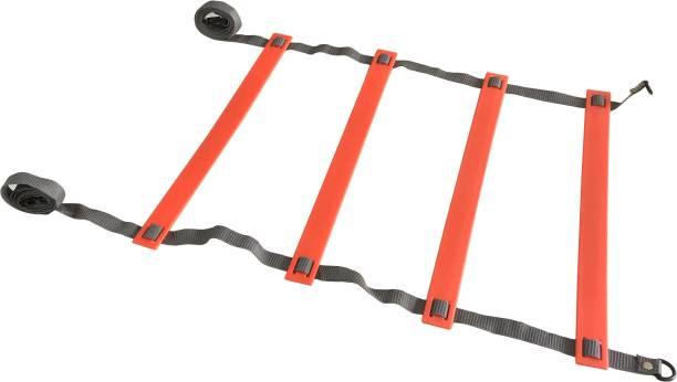 DE JURE FITNESS Adjustable Grey Orange Agility Ladder 2M Strap 4 Rungs Set Speed Ladder