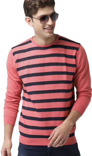 MAST & HARBOUR Striped Round Neck Casual Men Blue, Pink Sweater