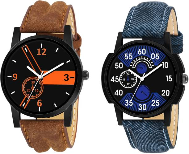 06e04121c UNU Combo Of Two Stylish Leather Strap New Fashion 2019 Mens Analog Watch -  For Men