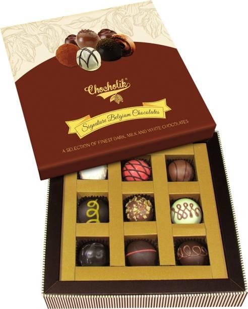 Chocholik Exclusive Signature Belgium Chocolates Truffles Gift Box – 9pc Truffles