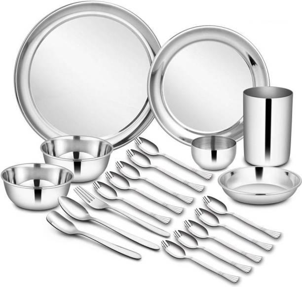 Shri & Sam Pack of 21 Stainless Steel High Grade Stainless Steel Dinner Set - 21 Pieces Dinner Set