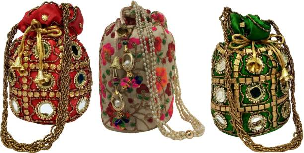Filora Women's Ethnic Rajasthani Silk Potli Bag Potli Purse Bridal Purse (Combo of 3 Potlis