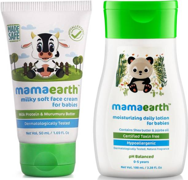 MamaEarth Milky Soft Natural Baby Face Cream for Babies 50mL änd nourishing wash for babies (100 ml, 0-5 Yrs)