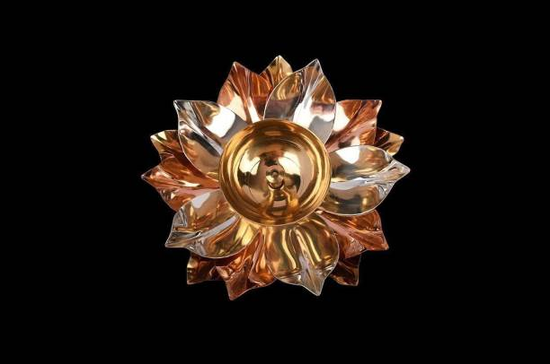 Mahashakti Mahashakti Brass Lotus Kuber Diya With Glass Base For Puja Home Décor-5 Inch Copper, Brass Table Diya Brass, Copper Table Diya