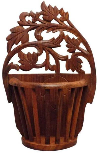 WoodCart Wooden Wall Hanging Flower Basket / Magazine Holder / Multi Holder with Round Pillers Design fully Carved Wall Hanging Magazine Holder
