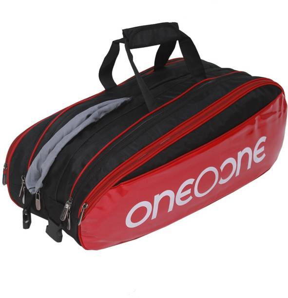 One O One Four Compartment Black & Red Racket Kit Bag