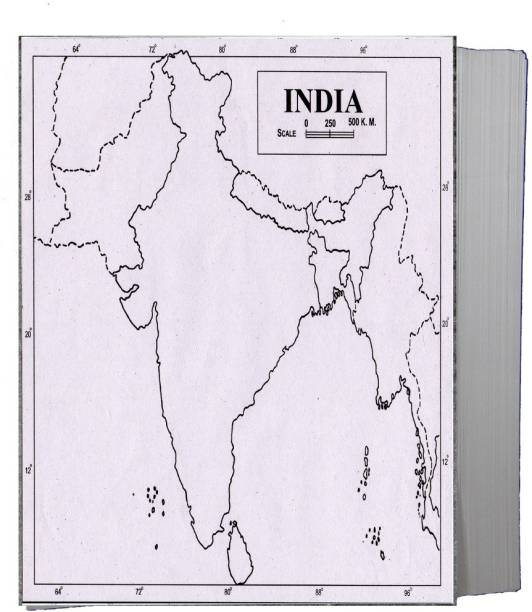 CRAFTWAFT PHYSICAL MAP OF INDIA BLANK A4 67 gsm Project Paper