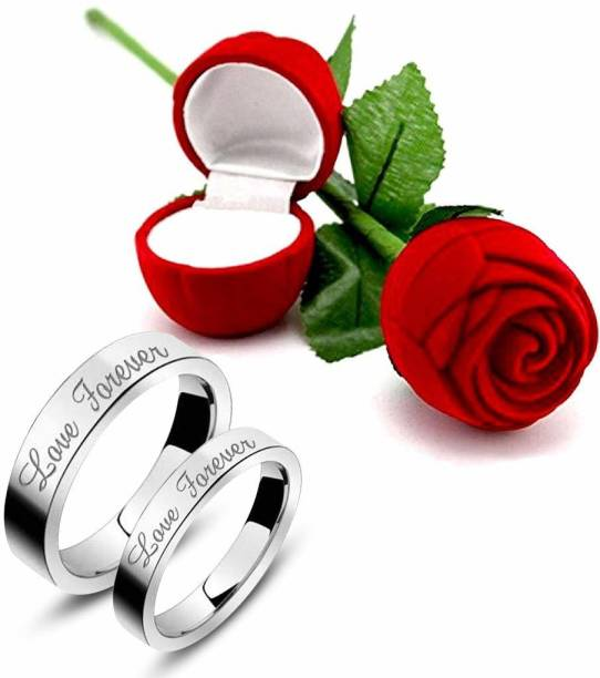 2a8eaa1efd The Bling Stores Love Forever Couple Rings with Red Rose Gift Box for  Boyfriend/Girlfriend