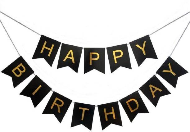 Kala Decorators Black and Gold Happy Birthday Banner Stylish Decorations and Party Supplies Banner