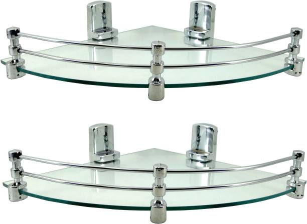 Sparkraze Set Of Two High Quality Plastic Brackets 10 Inch Round Corner with Unbreakable Toughned Glass fiited for - Bathroom, Kitchen, Drawing Room, Living Room Glass. Glass Wall Shelf