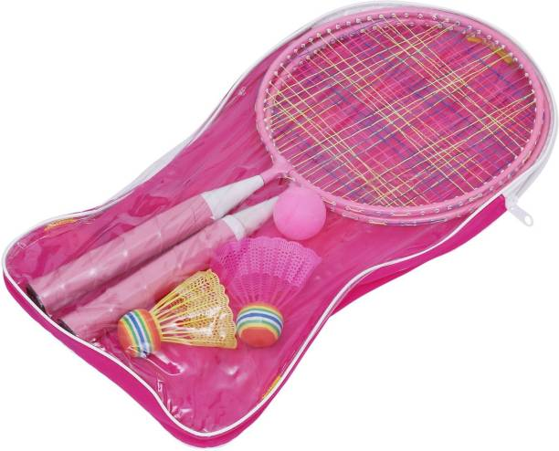 Leosportz Durable Kids play Mini Badminton racket Set with 2 Shuttles Pink Strung Tennis Racquet