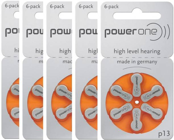 Power one P13 Hearing Aid Batteries 1.45V 5 patta (30 battery) Button Cells Stethoscope Case