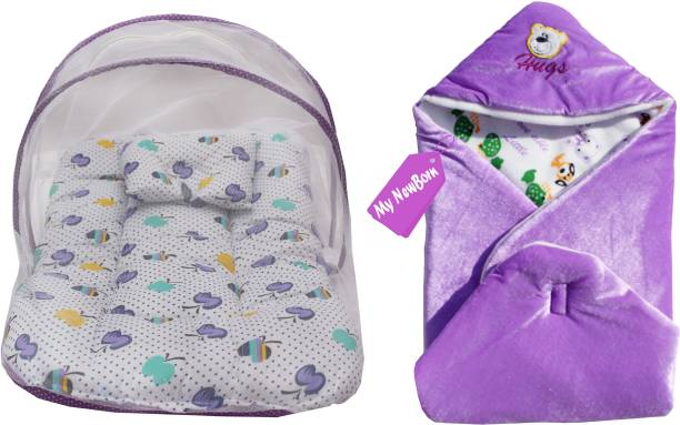 My New Born Luxury baby bedding set with protective mosquito net and pillow and 1 new born baby sleeping bag/wrap