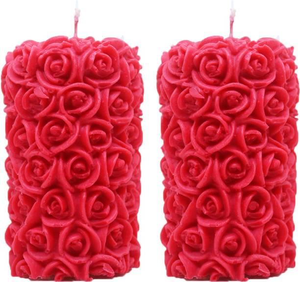 Shraddha Creation Rose Designer Pillar Double Red Rose Candle