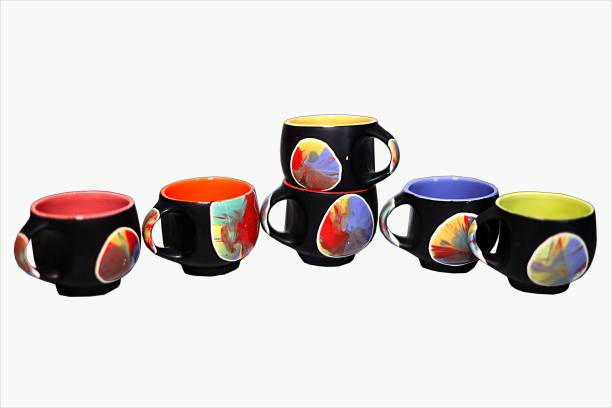 b064ee16305 PFUMART Black Multi Dot Ceramic Tea Cups 130 ml