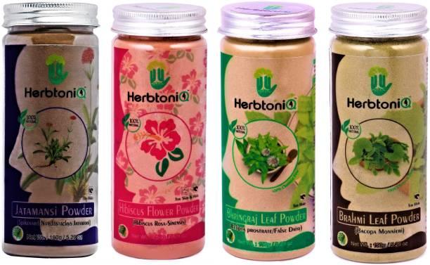 HerbtoniQ 100% Natural Jatamansi Powder 150g, Hibiscus Flower Powder 150g, Bhringraj Leaf Powder 150g, Brahmi Leaf Powder 150g For Hair Treatment Pack
