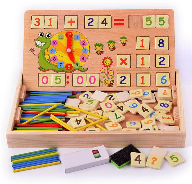 Wishkey 2 In 1 Double Sided Multi Functional Digital Computing Learning Box,Montessori Early Teaching Educational Toy