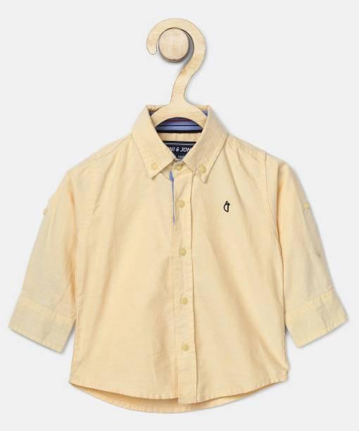 GINI & JONY Baby Boys Solid Casual Yellow Shirt