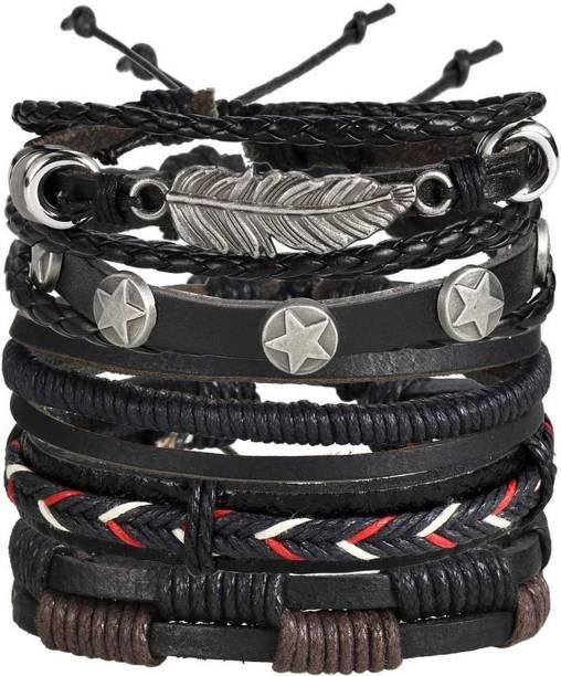 2018 Fashion Alloy Black Stone Leather Hand Rope Men Trendy Bracelet Chain & Link Bracelets