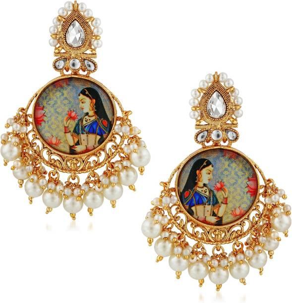 0223c8a1d Divastri Wedding Traditional Kundan Moti Jhumka earrings for girls women gold  plated Fancy Party wear stylish