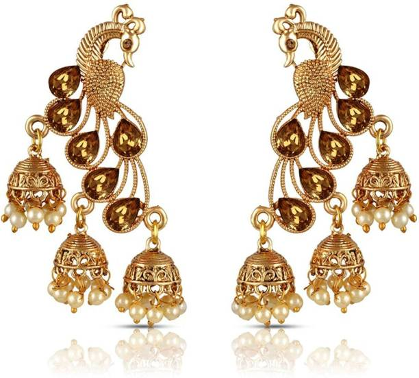 8b99e2272 Divastri Wedding Traditional Kundan Moti Jhumka earrings for girls women  gold plated Fancy Party wear stylish