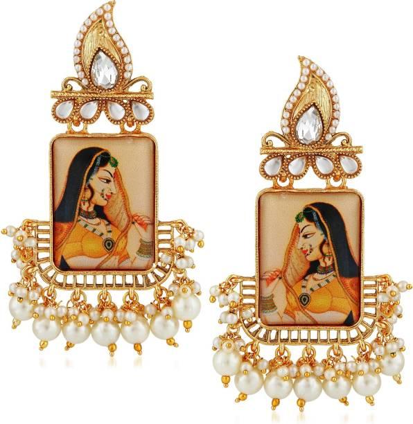 556003587275 Divastri Wedding Traditional Kundan Moti earrings for girls women gold  plated Fancy Party wear stylish Pearl