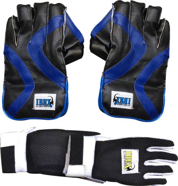 IBEX College Wicket Keeping Gloves Combo With Black Inner Gloves Wicket Keeping Gloves