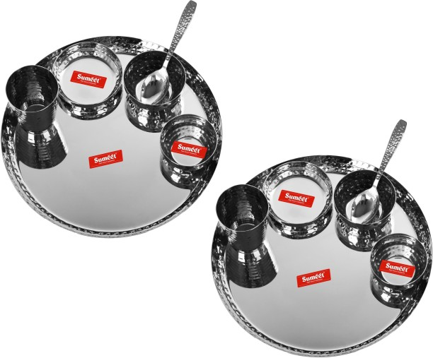 4 Plate, 4 Small Halwa Plate, 4 Big Bowl//Wati, 4 Small Bowl//Wati 4 Glass, 4Spoon Sumeet Stainless Steel Handcrafted Hammered Texture Heavy Gauge Mirror Finish Royal Dinner set of 24 Pcs