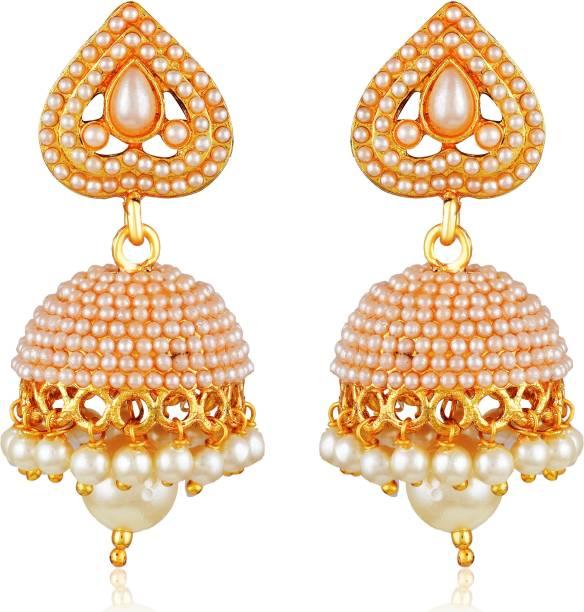 eccf0527c3af Divastri Wedding Traditional Kundan Moti Jhumka earrings for girls women  gold plated Fancy Party wear stylish