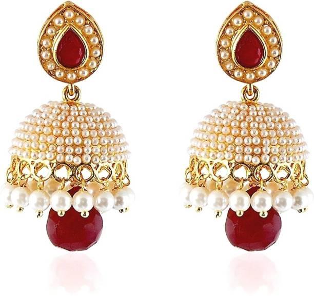 63e6bea79 Divastri Wedding Traditional Moti Jhumka earrings for girls women gold  plated Fancy Party wear stylish Pearl
