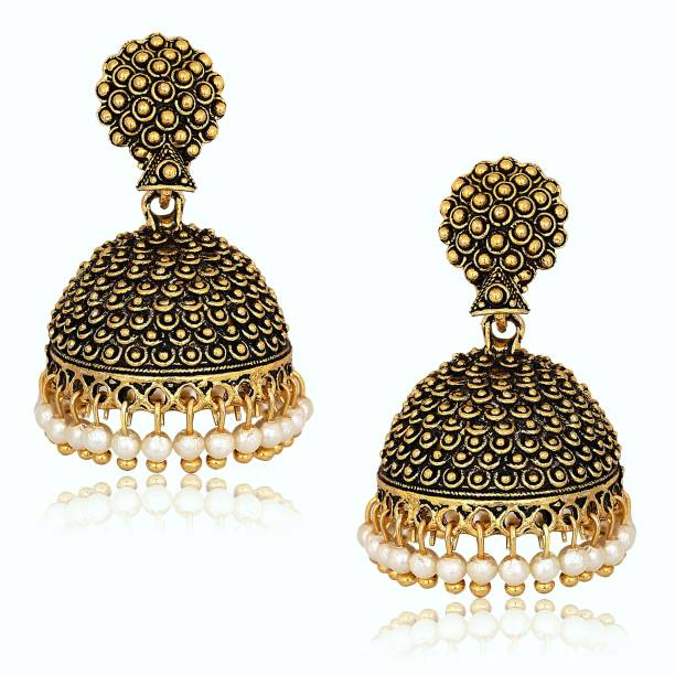 277067911 Divastri Wedding Traditional Jhumka earrings for girls women gold plated  Fancy Party wear Earings Pearl Alloy