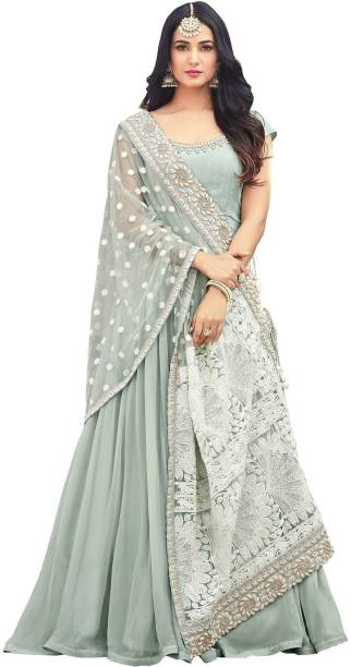 397e9ea747 Fashionuma Faux Georgette Embroidered Semi-stitched Salwar Suit Dupatta  Material