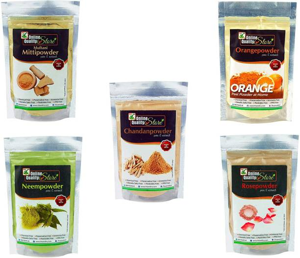 Online Quality Store Multani Mitti + Chandan Powder + Orange Peel Powder + Neem Powder + Rose Powder_400g